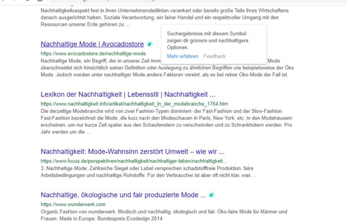 Suchergebnisseite Ecosia