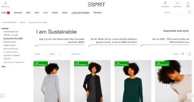 Esprit - Nachhaltigkeitsinformationen