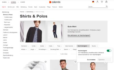 zalando Shop - Filter