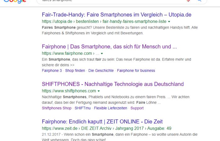Suchergebnisseite Google