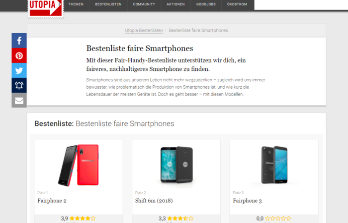 Utopia.de - Faire Smartphones